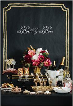 black gold and pink mimosa bar ahhh love!