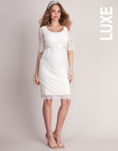 Lace dress Inserted stretchy slip Stretch lace outer layer Detachable sash Round neck  This stunning lace maternity bridal dress in pristine ivory ticks all the boxes for your perfect day. Embrace this season's lust for lace with this beautiful piece. Carefully crafted in luxe French lace, this is a dress worthy of the catwalk. The contemporary floral lace features added stretch for the perfect fit. Tie the detachable sash at your empire line to define your shape.