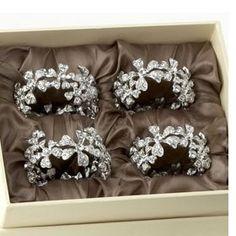 Swarovski Crystal and Platinum Napkin Ring Set