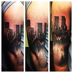 TATTOOS.ORG - City/Nature half sleeve. Tattoo by Myk Karasek,...