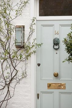Sage green door with a lion knocker