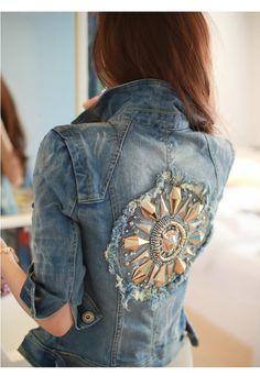 Punk Metal Rivets Distressed Denim Jacket. ..... super cute. ..