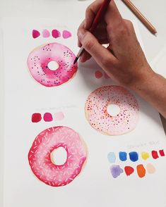 Showing you guys my #bts process of painting donuts on Snapchat today! : monvoirco - follow me for lots of painting, drawing, design tutorials and random weirdness in between. #monvoir #watercolor #donuts #winsorandnewton