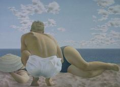 Couple On Beach , Alex Colville Alex Colville, Andrew Wyeth, Canadian Painters, Canadian Artists, Tempera, Art Inuit, Art Gallery Of Ontario, Magic Realism, Couple Beach