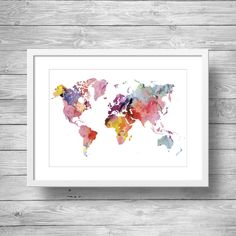 Printable art  Rainbow Watercolor world map  Printable wall