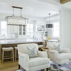 White Accent Chairs with Grey Ikat Pillows, Transitional, Kitchen