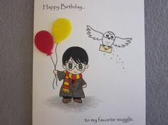 """Harry Potter Birthday Card """"to my favorite muggle"""" by ABitofImagination"""