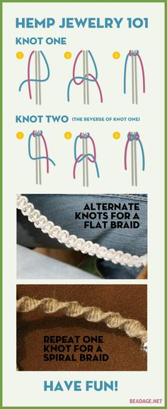 How to Make Hemp Jewelry Hemp Jewelry 101 - The Two Basic Knots. Learn to make hemp jewelry, it's easy!Hemp Jewelry 101 - The Two Basic Knots. Learn to make hemp jewelry, it's easy! Hemp Necklace, Hemp Jewelry, Macrame Jewelry, Macrame Bracelets, Jewelry Crafts, Handmade Jewelry, Jewelry Knots, Diy Hemp Bracelets, Hemp Bracelet Tutorial