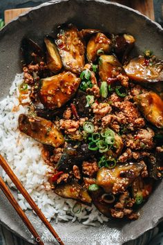 Mapo Eggplant (麻婆茄子) | Omnivore's Cookbook Chinese Eggplant, Asian Dinner Recipes, Chinese Food, Spicy, Curry, Food And Drink, Veggies, Favorite Recipes, Dishes