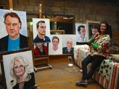 Janet Lance Hughes with some of her portraits - think of a famous Welsh person - Rob Brydon, Professor Steven Jones, Bonnie Tyler, Sian Phillips... Janet has painted their portrait