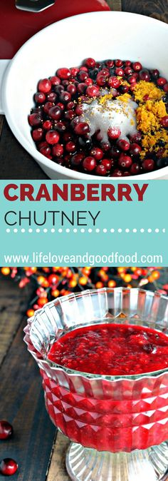 This easy homemade Cranberry Chutney is both tart and sweet at the same time and spiced with just a touch of nutmeg, ginger, and cloves. Thanksgiving Appetizers, Thanksgiving Side Dishes, Thanksgiving Recipes, Fall Recipes, Holiday Recipes, Holiday Meals, Thanksgiving Feast, Party Recipes, Fruit Recipes