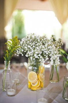 Diy wedding centerpieces 240801911311762929 - These Mason Jar Wedding DIY Projects Are Perfectly Rustic – Makeful Source by teresasoule Lemon Centerpieces, Mason Jar Centerpieces, Wedding Table Centerpieces, Mason Jars, Wedding Decorations, Centerpiece Flowers, Lemon Centerpiece Wedding, Centerpiece Ideas, Italian Table Decorations