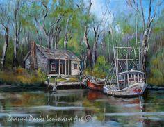 Bayou Shrimper, Shrimp Boat, Louisiana Bayou, Swamp Camp, Bayou Cabin, Shrimp, Fishing New Orleans Art, Louisiana Art by New Orleans Artist