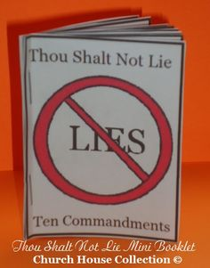 Thou Shalt Not Lie Ten Commandments Mini Booklet Craft for kids in Sunday school class or Children's Church. Printable sheet for kids to cut out and make a little booklet by stapling it together.