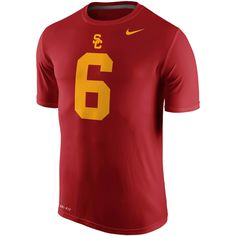 Men s Nike  6 Cardinal USC Trojans Legend Dominant Number Performance  T-Shirt 79d94b54c0c80