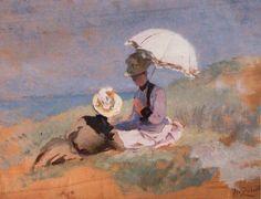 Henri Zuber French 1844-1909, Ladies on the Dune Normandie 1885