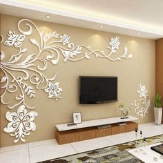 Cheap room decoration, Buy Quality acrylic wall sticker directly from China wall sticker Suppliers: Acrylic wall stickers Wonderful TV Background Decoration Flowers Acrylic Wall Sticker Best Home Decor living room decoration Tv Wall Decor, Wall Stickers Home Decor, Living Room Wall Stickers, Decals For Walls, Corner Wall Decor, Mirror Stickers, Decor Room, Diy Stickers, Room Art