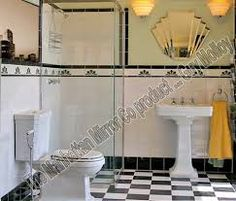 The art deco style is more present than ever today. People are interested in this centubry's style and usually design their bathrooms this way. But what is the art deco actually? Casa Art Deco, Art Deco Stil, Art Deco Home, Art Deco Bathroom, Art Deco Mirror, 1920s Bathroom, Bathroom Pics, Tile Mirror, French Bathroom