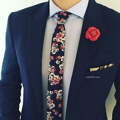 Love the accessories and stylings from @Suited_Man including their wide selection of floral ties and lapel pins | Get them now at www.suitedman.com | Follow @suited_man #suitup @suitedmanstyle by streetsfashions