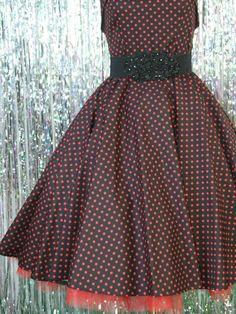 Black red polka dress