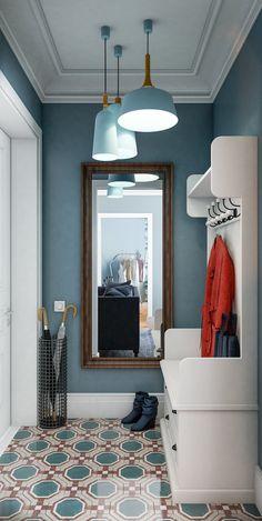 Keep the blue hue going through the hallway Home Interior, Home Living Room, Interior Design Living Room, Interior Decorating, Hallway Decorating, Hallway Designs, Paint Colors For Home, Colorful Interiors, Bedroom Decor