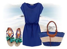 """Blue dress"" by hessazemammi ❤ liked on Polyvore featuring Lanvin and San Diego Hat Co."