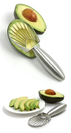 Avocado Slicer // a stainless steel tool that cuts avocado into perfect slices with one easy motion #product_design #kitchen #gadget