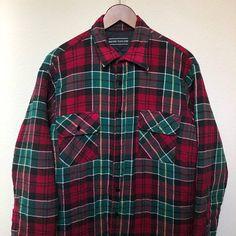c0ab37fd Vintage burgundy green flannel jacket, red plaid flannel soft coat, 90s  grunge 1990s, lined flannel vtg, David Taylor men L large oversized
