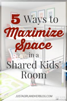 I can't believe how much function she fit into this shared kids' room! So many great ideas for maximizing space! | Just a Girl and Her Blog