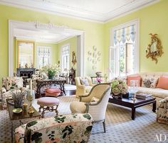 Mario Buatta Decorates a Stately Charleston Mansion for Patricia Altschul : Architectural Digest. like the open doors. Architectural Digest, Jean Louis Deniot, Patricia Altschul, Mario Buatta, Apartment Decoration, Pastel Room, Pink Room, Pastel Colors, Pastels