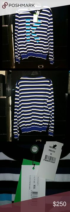 KENZO MEN'S LOGO STRIPES CREW/FRENCH BLUE XXL Official Men's KENZO logo stripes crew color French blue Xxl  brand new w tags retail 330 kENZO Sweaters Crewneck