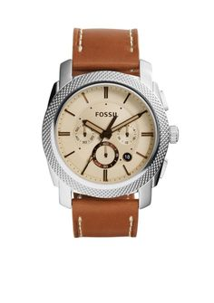 Fossil® Men's Machine Brown Leather Chronograph Watch - Belk