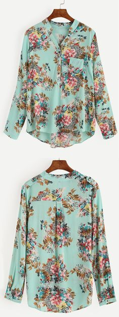 Pale Green FLoral Print Blouse With Epaulet