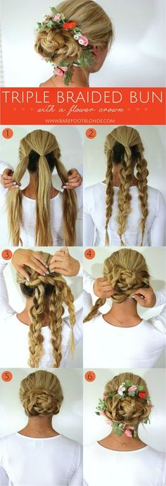 Triple braided bun with floral crown   Barefoot Blonde