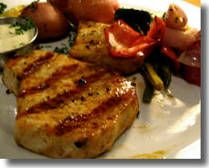 Grilled Swordfish Steak •2 6-oz. sword fish steaks •1 lemon •2 tsp. olive oil •1 tsp. dried Herbes de Provence •Pinch of salt. Squeeze half the lemon over steaks, both sides. Marinate 30 mins. Brush both sides of steak w olive oil then sprinkle one side of each steak with 1/2 tsp Herbes de Provence and a pinch of salt. Place steaks on hot grill and cook about 5 mins- til edges of steak are cooked halfway up. Flip steaks and cook another 5 minutes.