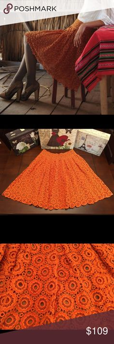 Anthropologie Tuberose Lace Skirt-Orange, Size 8 Anthropologie Tuberose Cotton Lace Skirt-Orange, Size 8  Brand new with tag! ☺️ This is a very pretty crochet lace skirt made of heavy cotton. The skirt is lined and zips at the side.   Length-23 inches  Waist- Measures 28 inches (14 inches across) Material- 100% Cotton (with rayon lining) Anthropologie Skirts