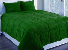 3Pc Green Twin Corduroy Quilted With Poly Fiber Duvet Cover Set Home DéCor Xmas