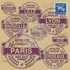 Stamp set France cities