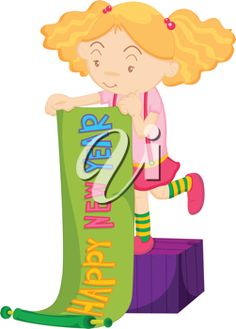 iclipart illustration of a girl with happy new year banner new year clipart happy