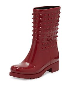 Rockstud Rubber Rainboot, Red by Valentino at Neiman Marcus.