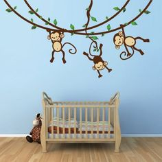 Monkey Wall Decal for Baby Nursery or Kid's Room by Bebe Bottle Sling, LLC, http://www.amazon.com/dp/B007JBF3JG/ref=cm_sw_r_pi_dp_rllLpb05D3ZNS