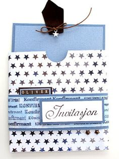 Kreativ Hobby: Anne Bente - Invitasjon til konfirmasjon (gutt) Louis Vuitton Damier, Party Invitations, Diy And Crafts, Anna, Pattern, Cards, Scrapbooking, Creative, Patterns
