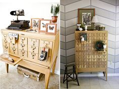 Vintage letterpress drawers, card catalogs, printer drawers and apothecary cabinets are all perfect places to store your tiny treasures