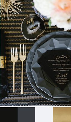 Black, white, and gold – a classy and sassy New Year's Eve palette