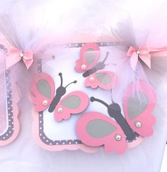 Butterfly name banner, birthday / baby shower banner, pink and gray with polka dots, photo prop Diy Birthday Banner, Butterfly Birthday Party, Butterfly Baby Shower, Garden Birthday, Baby Shower Balloons, Baby Shower Parties, Baby Banners, Flower Phone Wallpaper, Garlands