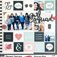Today, I'm sharing a super simple grid layout I made with the Pebbles Girl Squad collection. This collection was just pe. Beach Scrapbook Layouts, School Scrapbook, Scrapbook Pages, Grid Layouts, Pocket Scrapbooking, Power Girl, Happy Friday, Nashville, Squad
