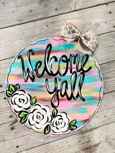 Excited to share this item from my shop: Rustic Rainbow Abstract Spring Welcome Door Hanger Painted Doors, Wooden Doors, Wooden Signs, Classic Doors, Burlap Door Hangers, Wood Cutouts, Front Door Decor, Diy Door, Wooden Diy
