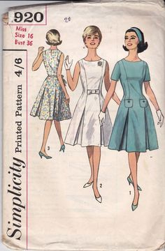 1950s VINTAGE SEWING PATTERN MISSES' ONE-PIECE DRESS #4244