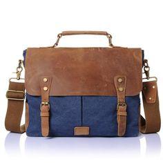 Handmade Canvas Leather Bag Briefcase Messenger Bag Handbag Shoulder Bag Laptop Bag 14098 --------------------------------- - waxed canvas - Cotton lining - Inside one zipper pocket, one iPad poc Vintage Messenger Bag, Canvas Messenger Bag, Messenger Bag Men, Leather Laptop Bag, Leather Briefcase, Laptop Briefcase, Business Briefcase, Laptop Backpack, Leather Satchel