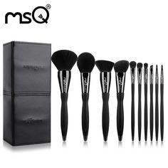 MSQ 10ps New Arrival Makeup Brushes Set Pro Powder Cosmetic Beauty Tool Kit Copper Ferrule Resin Handle With PU Leather Cylinder